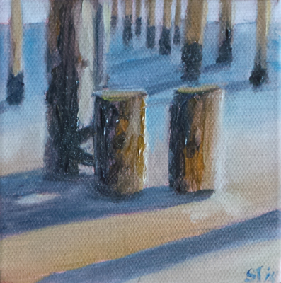 oil, painting, ocean, California, beach, pier, shadow, reflection, sunset, plein air painting