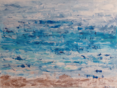 Acrylic Painting, abstract, ocean, blue, modern, relaxing