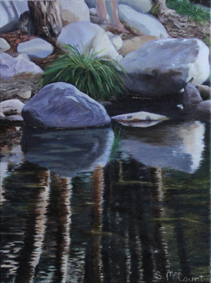 Oil Painting, photo-realistic, California, stream, river rocks, reflections