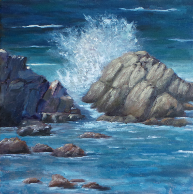 Oil Painting, Ocean, blue, water, rocks, calming, wave, spash