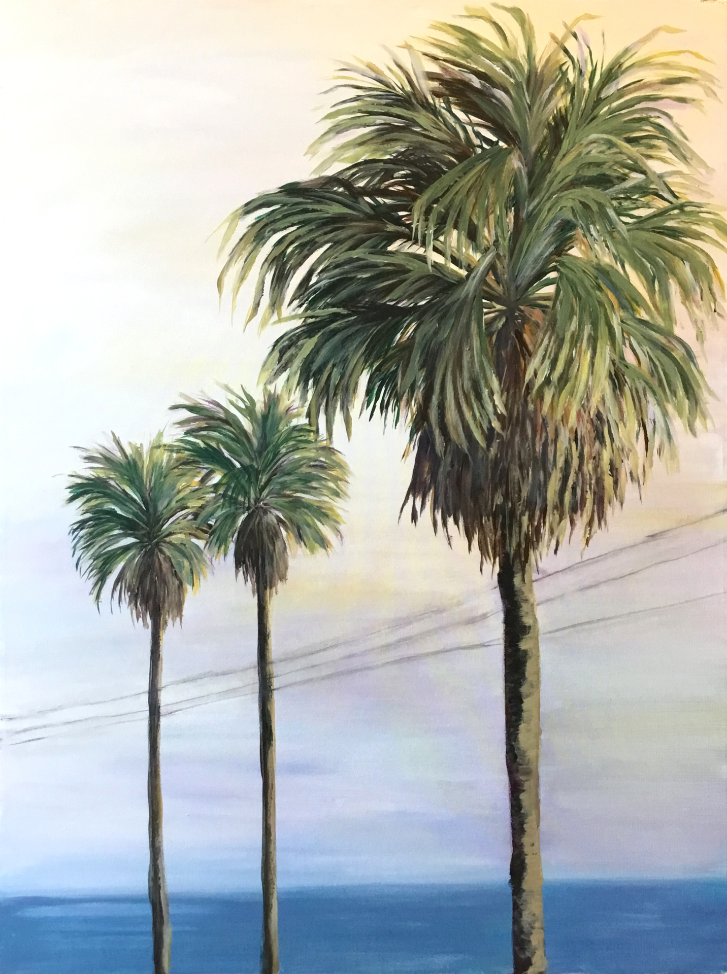 Acrylic, ocean, palm trees, California, beach, sunset,