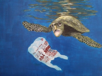 Acrylic, painting, ocean, sea turtle, blue, water, plastic, pollution, earth,