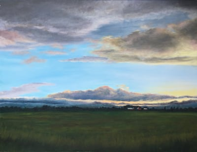 Acrylic painting, sunset, dusk, farm, clouds, Oregon, California,