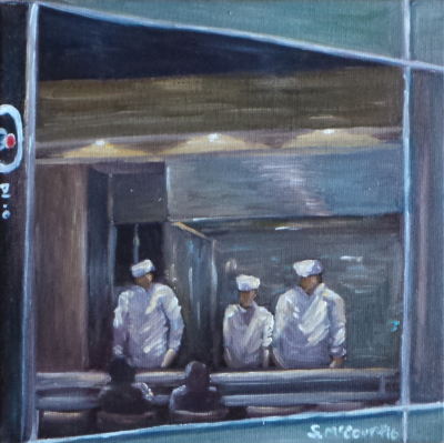 Oil painting, plein air painting, sushi, restaurant, Los Angeles, sushi chef, nocturne, night painting